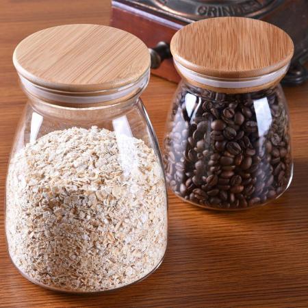 Recipient din sticla borosilicata si capac din bambus, 1000 ml [0]
