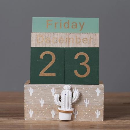 Calendar din Lemn, 11 x 6 x 14 cm, Cactus2
