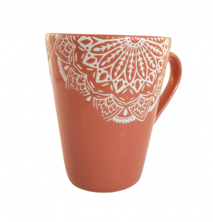 Cana MANDALA, culoare Caramiziu, 300 ml, Ceramica