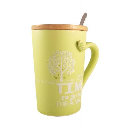 Cana ceramica GREEN, cu capac din bambus si lingurita0