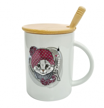 Cana Ceramica cu capac Bambus si Lingurita, CAT IN PARIS1