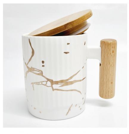 Cana Ceramica cu maner si capac din bambus, 400 ML2