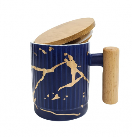 Cana Ceramica cu maner si capac din bambus, 400 ML3