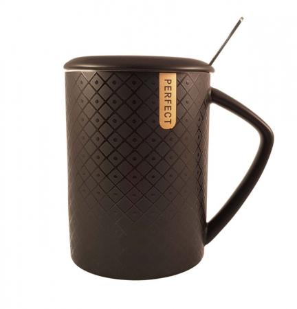 Cana ceramica Perfect Life cu capac, Negru, 400 ml2