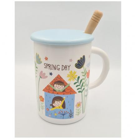 """Cana din Ceramica cu lingurita si capac """"SPRING DAY"""" 300 ml [1]"""