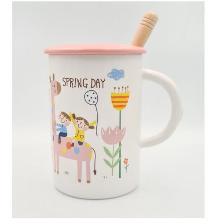 """Cana din Ceramica cu lingurita si capac """"SPRING DAY"""" 300 ml [3]"""