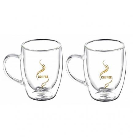 Set 2 Cani COFFEE 300 ml, din sticla borosilicata cu pereti dubli [0]