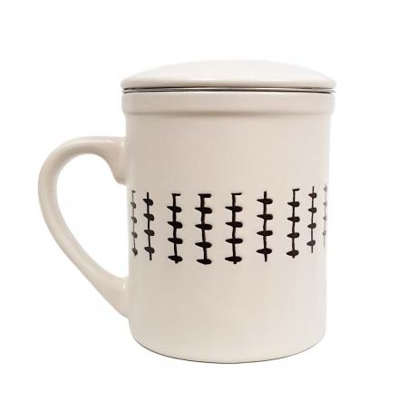 Set 2 Cani pentru Ceai, infuzor metalic si capac, Ceramica, 320 ML x 22