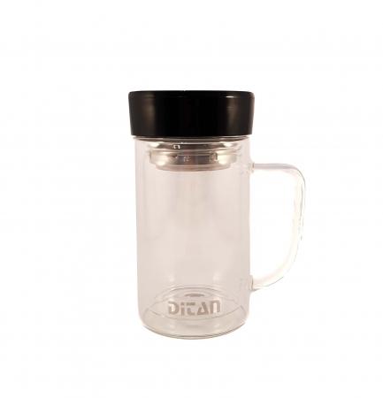 Cana pentru ceai din sticla cu pereti dubli,sita si capac, 350 ml2