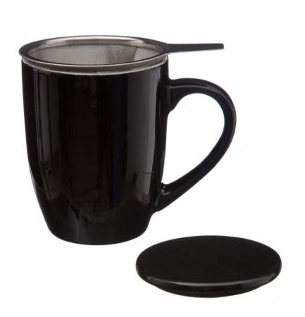 Cana cu infuzor pentru Ceai, 320 ml, Portelan, Negru3