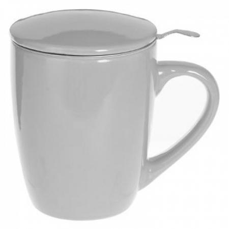 Cana cu infuzor pentru Ceai, 320 ml, Portelan, Gri0