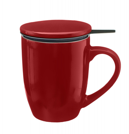 Cana cu infuzor pentru Ceai, 320 ml, Portelan, Rosu0
