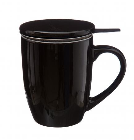 Cana cu infuzor pentru Ceai, 320 ml, Portelan, Negru