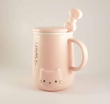 Cana ceramica cu lingurita si capac, LOVELY, 350 ml5