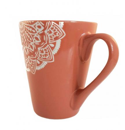 Cana MANDALA, culoare Caramiziu, 300 ml, Ceramica1