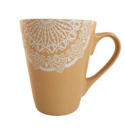 Cana MANDALA, culoare Ocru, 300 ml, Ceramica