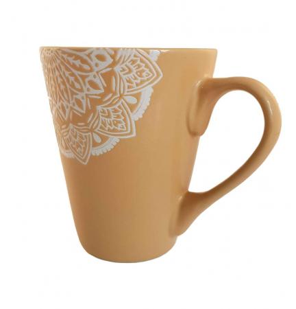 Cana MANDALA, culoare Ocru, 300 ml, Ceramica1