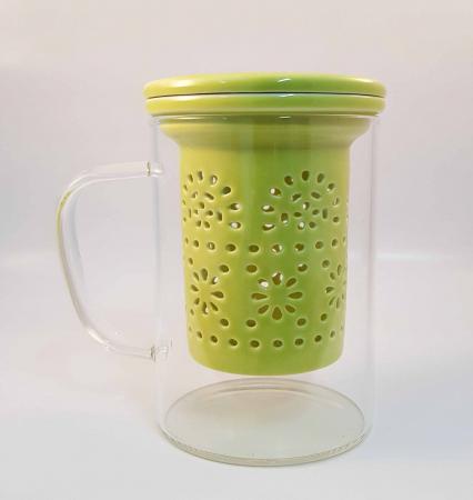 Cana pentru Ceai cu Infuzor si Capac din Ceramica, 400 ml0