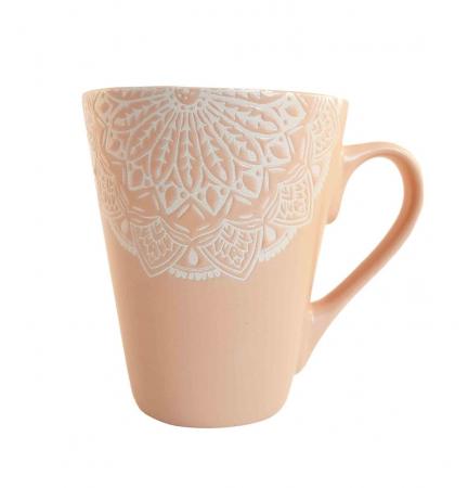 Cana MANDALA, culoare Roz, 300 ml, Ceramica0