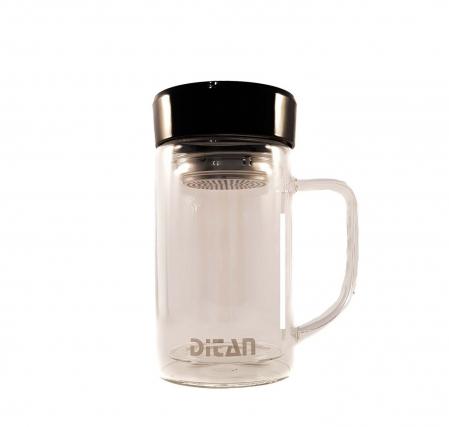 Cana pentru ceai din sticla cu pereti dubli,sita si capac, 350 ml0