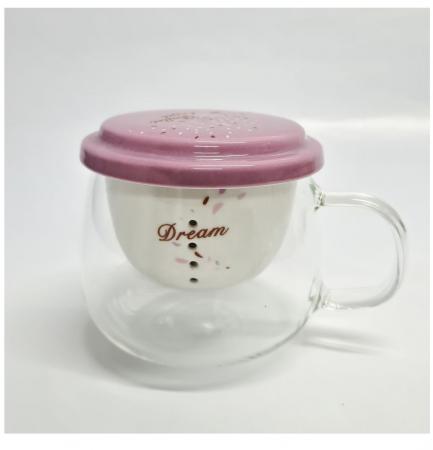 Cana din sticla transparenta cu infuzor si capac din ceramica, 200 ml2