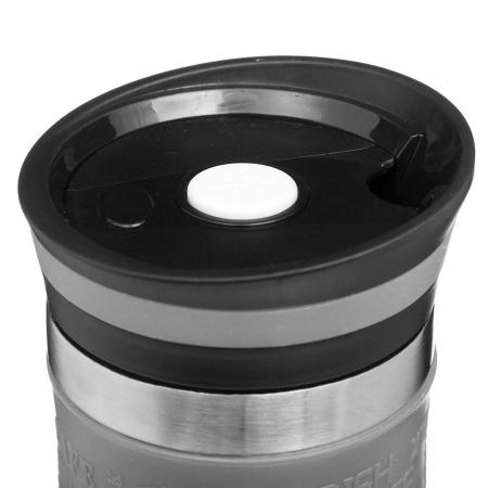 Cana termos pentru calatorie, protectie silicon, Gri2