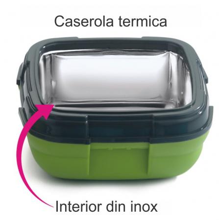 Caserola termica pentru alimente, 1 litru, Verde1