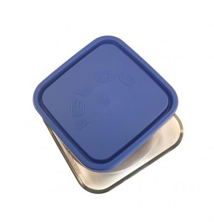 Caserola patrata din sticla, capac plastic, 960ml, Albastru1
