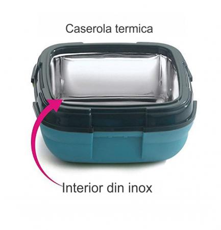 Caserola termica pentru alimente, 1 litru, Albastru3