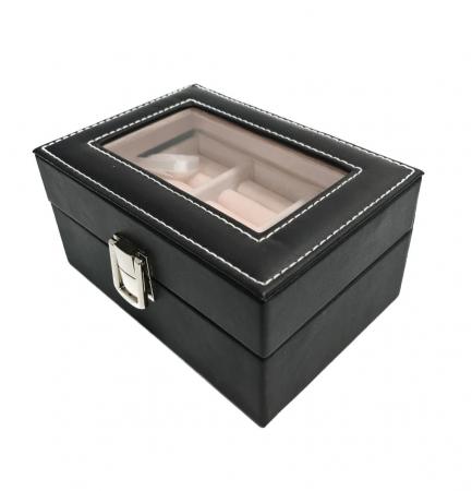 Caseta pentru Bijuterii, Inele /Cercei /Butoni, piele ecologica, Negru, 15.5X11X8 CM1