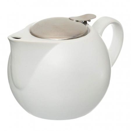 Ceainic Ceramic cu infuzor metalic, Alb, 750 ML0