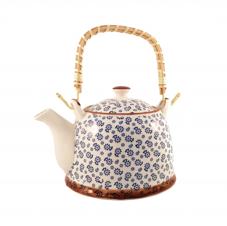 Ceainic Ceramic cu maner din Bambus, Albastru Flowers, 800 ml0