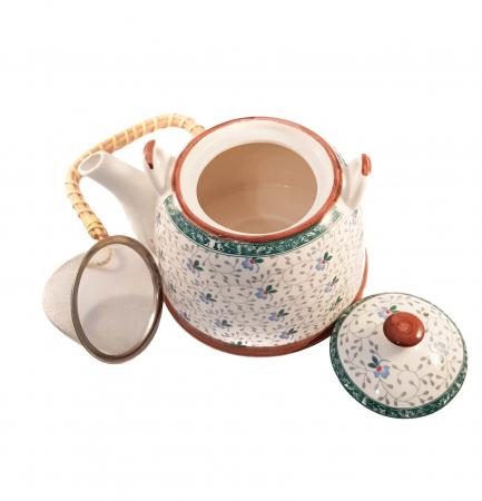 Ceainic Ceramic cu infuzor, maner Bambus, 800 ml, Verde1