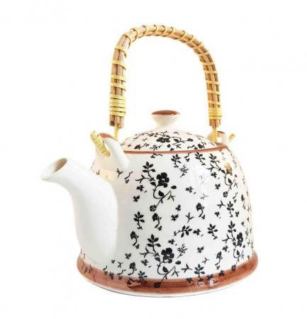 Ceainic Ceramic Negru, cu maner din bambus, 800 ml