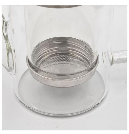 Ceainic din Sticla cu infuzor si capac metalic, 600 ml [1]