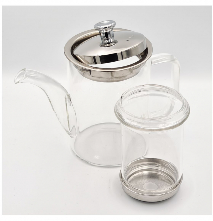 Ceainic din Sticla cu infuzor si capac metalic, 600 ml [2]