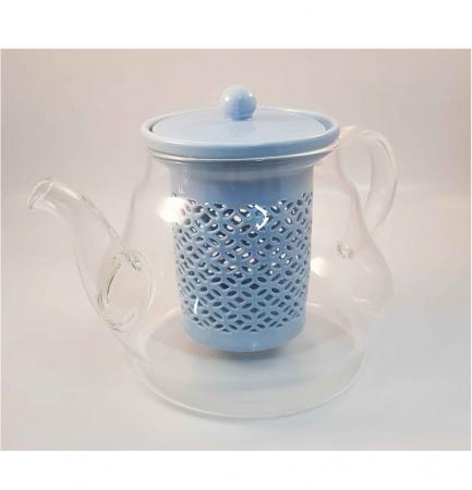 Ceainic din Sticla cu Infuzor si capac din Ceramica, 800 ml0
