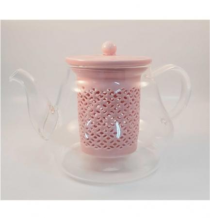 Ceainic din Sticla cu Infuzor si capac din Ceramica, 800 ml1