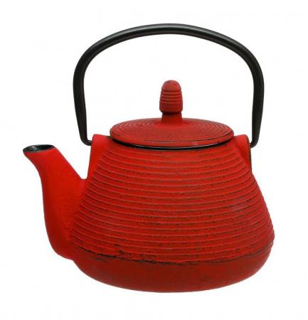 Ceainic din fonta 1 Litru, cu infuzor detasabil, Rosu