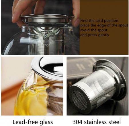 Ceainic din sticla Borosilicata  cu infuzor metalic, 650 ml [2]