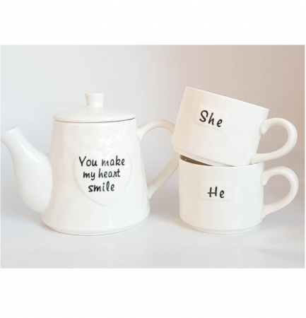 Set Tea For Two, Ceainic 460 ML cu infuzor si 2 Cani SHE&HE, Portelan2