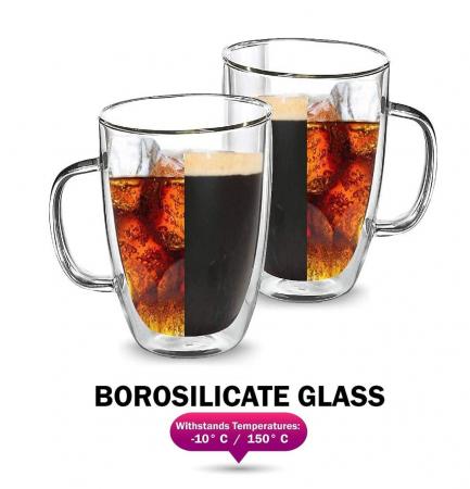 Cana COFFEE 350 ml, din sticla borosilicata cu pereti dubli [1]