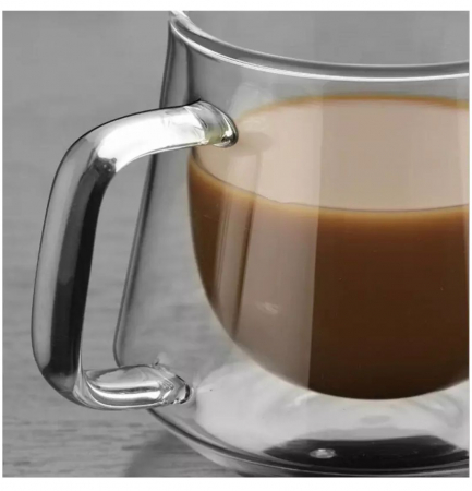 Set 2 Cesti COFFEE din sticla borosilicata cu pereti dubli, 200 ml [5]