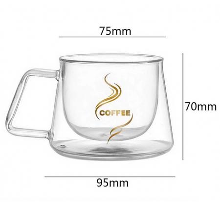 Set 2 Cesti COFFEE din sticla borosilicata cu pereti dubli, 200 ml [6]