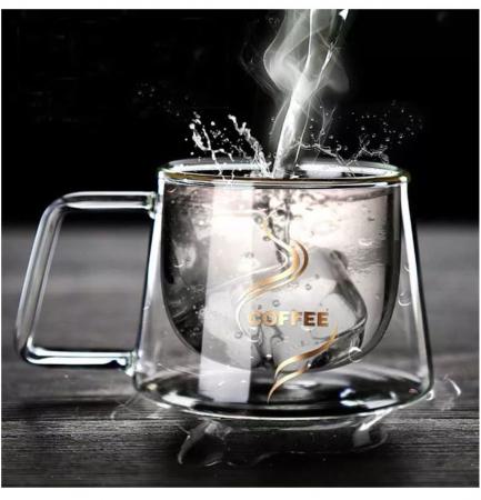Set 2 Cesti COFFEE din sticla borosilicata cu pereti dubli, 200 ml [3]