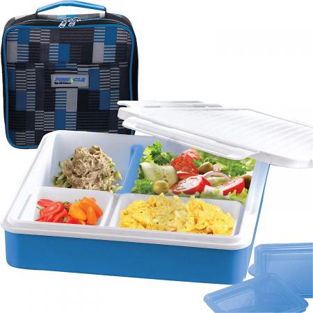 Cutie alimente Lunch Box 4 compartimente, Penta Go, Albastru3