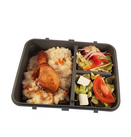 Cutie alimente LUNCH BOX, Negru, 3 compartimente,1 litru2