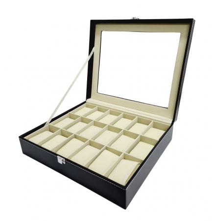 Cutie pentru Ceasuri, 18 spatii, Piele ecologica si catifea, Negru [0]