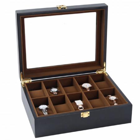 Cutie pentru 10 Ceasuri, Lemn si sticla, Negru, 26X20X8.5 CM2