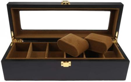 Cutie din Lemn pentru 6 Ceasuri, Lemn si Sticla, 31x11x8.5 CM, Negru1